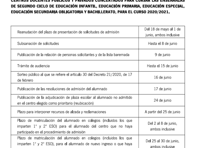 Calendario escolarización modificado